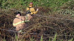 Firefighters enter Brush Fire Scene / Fallen Power Lines Stock Footage