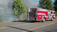 Stock Video Footage of Brush Fire & Fire Truck