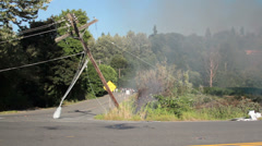 Brush Fire, Leaning Power Pole, Fallen Street Light Stock Footage