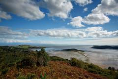 View from the muckle over the kippford estuary and across the solway Stock Photos