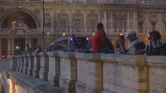 People tourist take photo bridge sidewalk pedestrian twilight hobby Rome relax  Stock Footage