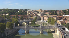 Panoramic view cityscape skyline Rome Italy summer day Ponte Vittorio Emanuele I Stock Footage