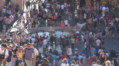 Panorama tourist enjoy Piazza di Spagna Spanish Steps square staircase Rome day Stock Footage