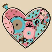 Stock Illustration of mechanical valentine color heart