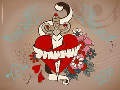 Old-school style tattoo heart with flowers and dagger, valentine illustration Stock Illustration