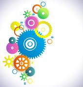 Industrial abstract colorful background with different gear Stock Illustration