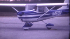 8mm Vintage Film- 24p -1966 Cessna 150G Airplane Taxi  Takeoff New Blue Stock Footage