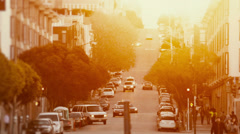 Streets of San Francisco bathed in golden light. Stock Footage