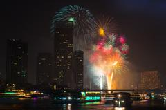 Firework countdown at chaopraya river view bangkok thailand Stock Photos