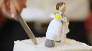 Stock Video Footage of Slicing wedding cake