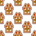 Stock Illustration of gingerbread gifts and presents seamless pattern