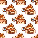 Stock Illustration of christmas hat gingerbread seamless pattern