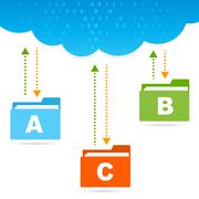 Transfer files cloud presentation Stock Illustration