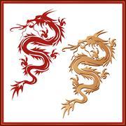 set of dragons - symbol of oriental culture - stock illustration