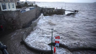 Stock Video Footage of Weston-super-Mare high tides hit seafront Friday 3rd January 2014