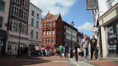 Crowd Of People Walking On City Street Sidewalk Timelapse - stock footage