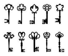 Black vintage keys set Stock Illustration