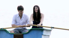 Happy couple in love in vacation on boat Stock Footage