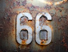 66 route rust americana house texture iron - stock photo