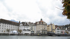 Panoramic view of old town of Lucerne, Switzerland Stock Footage