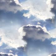 seamless cloud sky blue wallpaper texture - stock photo