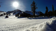 Stock Video Footage of Mammoth, Skiers and Snowboarders on slope