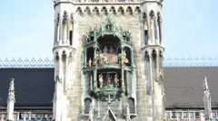 Glockenspiel on the Munich city hall Stock Footage