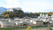 Stock Video Footage of Panoramic view of the historic city of Salzburg with Fortress Hohensalzburg