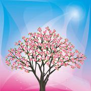 Spring blue - pink background with sakura - japanese cherry tree Stock Illustration