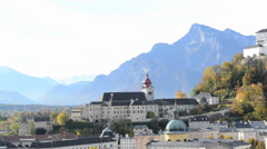 Panoramic view of the historic city of Salzburg with Fortress Hohensalzburg Stock Footage