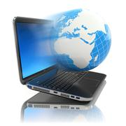 Internet concept. laptop and earth. Stock Illustration