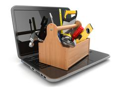 online support. laptop and toolbox. - stock illustration