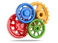 perpetuum mobile. color gears on white isolated background. - stock illustration