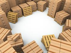 storage. cardboard boxes on pallet - stock illustration