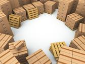 Stock Illustration of storage. cardboard boxes on pallet