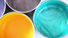 colour palette of bright paints - stock footage