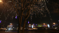Stock Video Footage of christmas lights decorated and abandoned romanian government headquarters.
