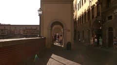 Tourists walk around the Bridge Ponte Vecchio Stock Footage