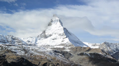 Stunning View Of Matterhorn In Swiss Alps. Shot from the Zermatt side Stock Footage