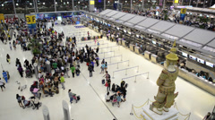 fast moving crowd of people, at Suvarnabhumi airport, Thailand - stock footage