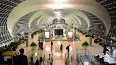 Fast moving crowd of people, at Suvarnabhumi airport, Thailand Stock Footage