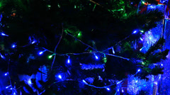 Christmas tree green and blue light moving Stock Footage