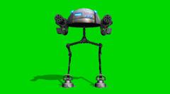 Mech war robot walk - seperated on green screen Stock Footage