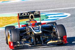 team lotus renault f1, romain grosjean, 2012 - stock photo