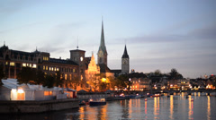 Zurich Skyline and the River Limmat in the Evening (Switzerland) Stock Footage