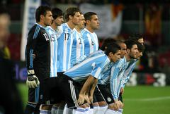 Argentinian players posing - stock photo