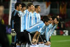 Argentinian players posing Stock Photos