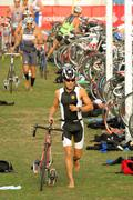 Triathlete on transition zone Stock Photos
