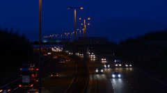 Time lapse traffic traveling on the A1/M motorway at night Leeds, UK Stock Footage