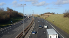 time lapse rush hour traffic traveling on the A1/M motorway Leeds, UK - stock footage